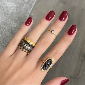 Unique stacking and statement ring set